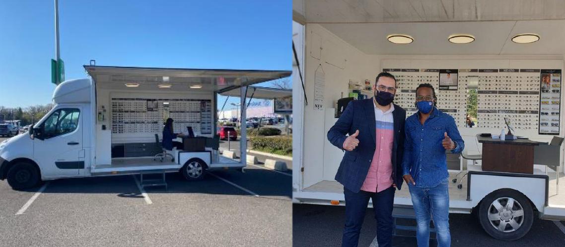 Dans son camion-boutique, Maxime Balouzat a reçu la visite de l'ancien footballeur Sidney Govou