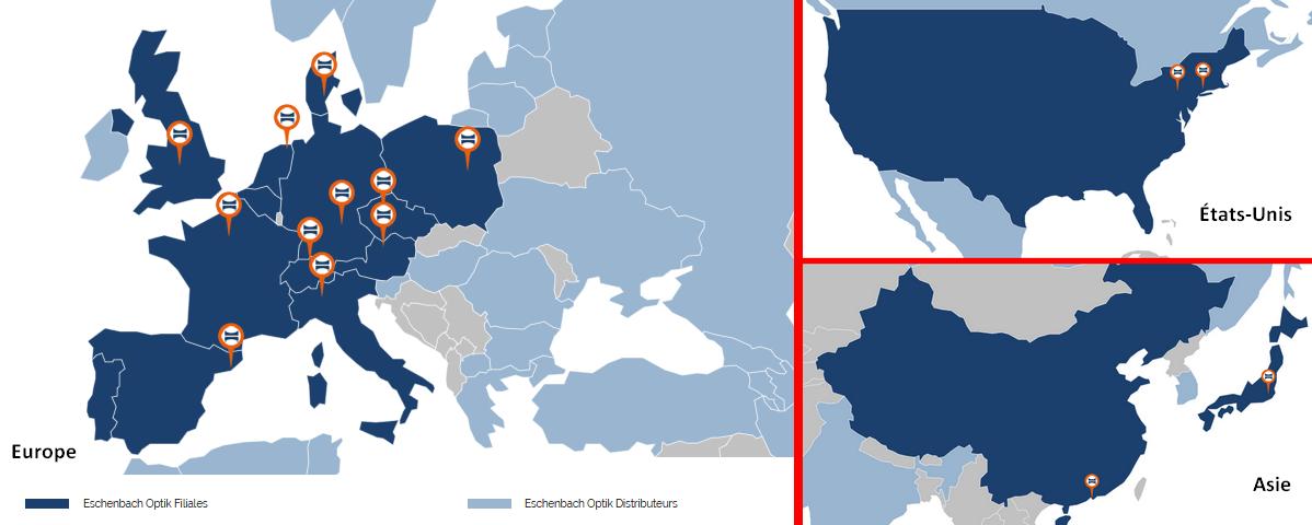 La présence d'Eschenbach dans le monde (© eschenbach-optik.com)