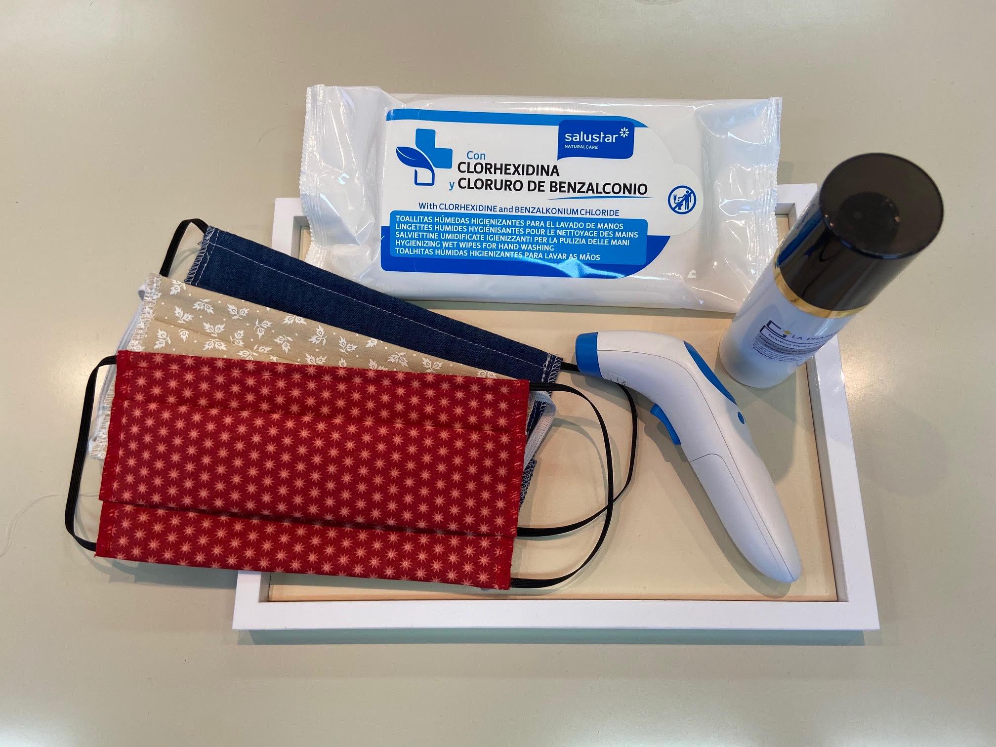 Le kit sanitaire fourni par Grasset à ses commerciaux