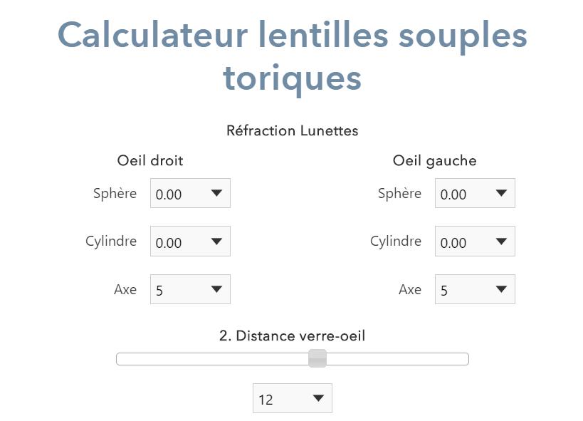 Calculateur lentilles souples toriques