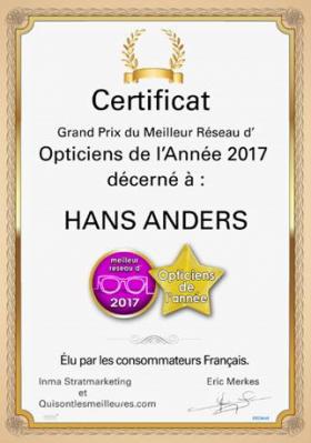 Hans Anders élu meilleur réseau d'opticiens de l'année 2017