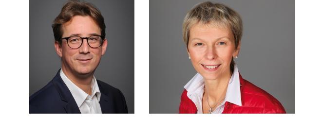 De gauche à droite : Arthur Havis, directeur général du réseau Ecouter Voir et Daniela Dalla Valle, directrice générale déléguée d'Ecouter Voir