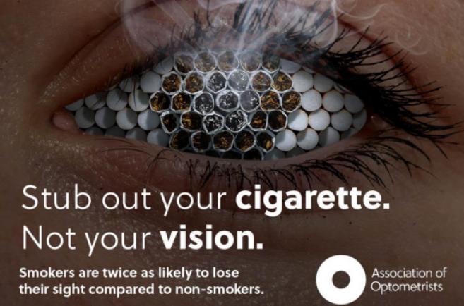 Fumer peut rendre aveugle. Sensibilisez vos clients !