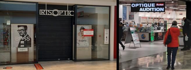 Dans le centre commercial de Leers, les opticiens comme Iris Optic sont fermés... Mais pas Auchan Optique, rattaché à l'hypermarché