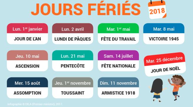 Jours fériés: un calendrier à trous pour 2018