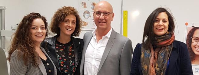 De gauche à droite : Axel Pouillon-Guibert, professeur d'Analyse de la Vision, Anne-Sophie Tollis, directrice pédagogique Iso, Pierre Gerini, président de la Fondation Krys Group et Gaëlle Besse, chef de projet du développement des ressources humaines chez Krys Group