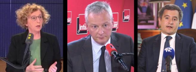 Muriel Pénicaud, Bruno Le Maire et Gérald Darmanin se sont tous les 3 exprimés ce lundi matin