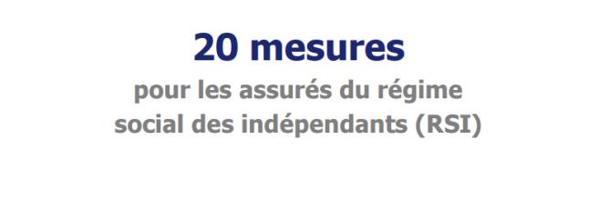 20 mesures pour réformer le Régime Social des Indépendants (RSI)