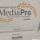 Acuité reçoit le Grand Prix de la stratégie réseaux sociaux lors des Media Pro 2018