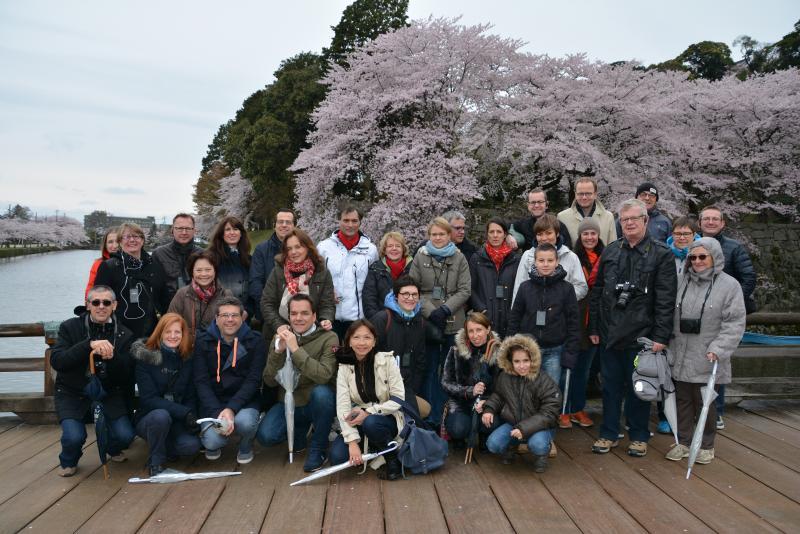 Belle photo de groupe malgré le froid et le temps pluvieux au château de Hikone et les fameux cerisiers en fleurs