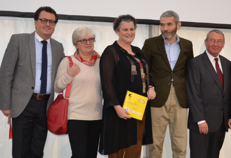 Laurent Dosseville, membre du conseil d'administration, Florence Bodereau, présidente de l'association ; Claude Delhomme, directrice de l'école ; Jean-François Vigier, maire de Bures-sur-Yvette (91) ; et Jean Paul Roosen, petit-fils du créateur de l'institut et directeur de l'école de 1977 à 2010 ; le 19 novembre pour les 100 ans de l'ICO.