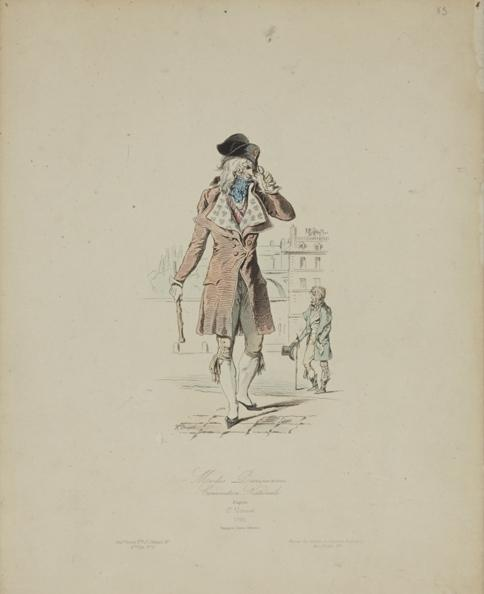 Gravure « Modes parisiennes » illustrant le costume excentrique des Incroyables (redingote avec une bosse dans le dos, cravate proéminante sur la poitrine … et paire de binocles), XIXe siècle, ©Musée de la Lunette - coll. Essilor-Pierre Marly. Photo : Pierre Guénat