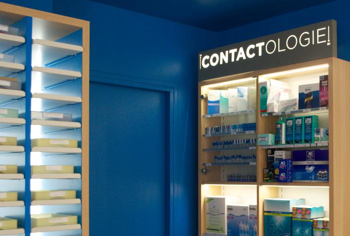 Espace contactologie avec les différents produits.