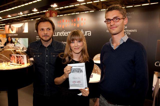 Le podium des lauréats du concours de design des Lunetiers du Jura