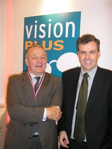 Jean-Marie Leblanc, le Directeur du Tour de France sur le stand de Vision Plus partenaire du Tour de France 2007
