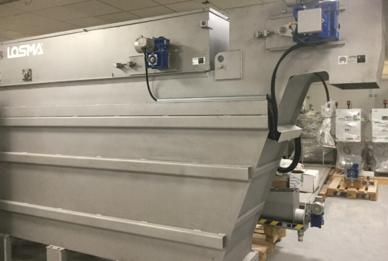 Nouvelle machine Losma pour centrifuger les effluents industriels de surfaçage (copeaux + eau). Résultat : une réduction du volume de déchets produits
