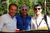 Gilbert Duclos-Lassalle, ancien cycliste professionnel, Jean-Pierre Champion, DG de Krys Group, et Bernard Galan, DG de Luxottica France, sur l'étape Besançon-Oyonnax.
