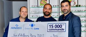 De gauche à droite : Michael Levy, fondateur d'Order My Lens - Nathan Attali, propriétaire du magasin Vue d'ailleurs et Jenkiz Saillet, directeur général de Novacel