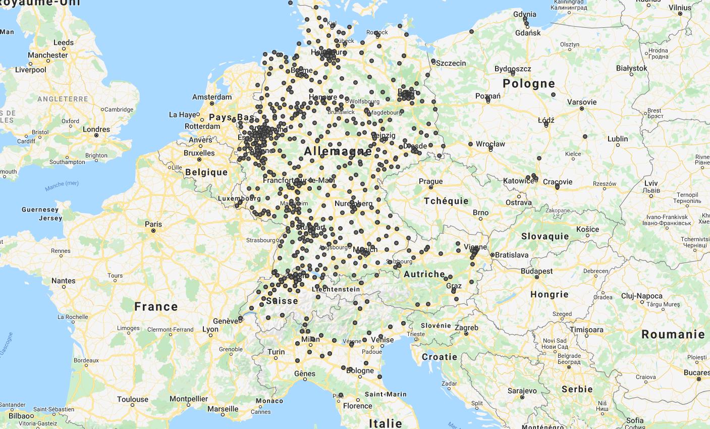 Les succursales de Fielmann en Europe. Les pays voisins de l'Allemagne sont investis progressivement, notamment l'Italie, où l'entreprise n'est pour l'instant présente que dans le Nord. Source : fielmann.ch
